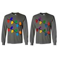 Christmas Lights Long Sleeve Charcoal Shirt