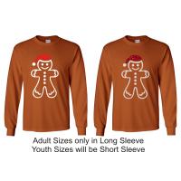 Christmas - Gingerbread Man Texas Orange Long Sleeved T-Shirt