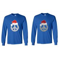 Peace Sign with Santa Hat Royal Blue Long Sleeved Shirt