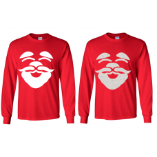 Santa Face Red Long-Sleeved T-Shirt