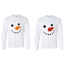 Christmas - Snowman Face Long-Sleeved T-Shirt