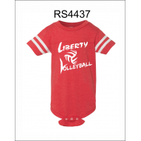 Liberty Volleyball Onesie with Football Striped Sleeves
